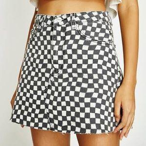 Insight Denim Checkered Jean Mini Skirt sz 29